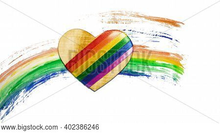 Heart With Lgbt Symbols On A Rainbow Background. Concept Lgbt For Design. Gay Pride Rainbow Lgbt Fla