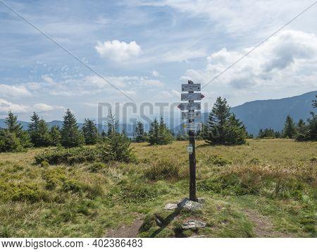 Liptovska Luzna, Low Tatras, Slovakia, August 29, 2020: Tourist Signpost Sedlo Pod Skalkou At Ridge