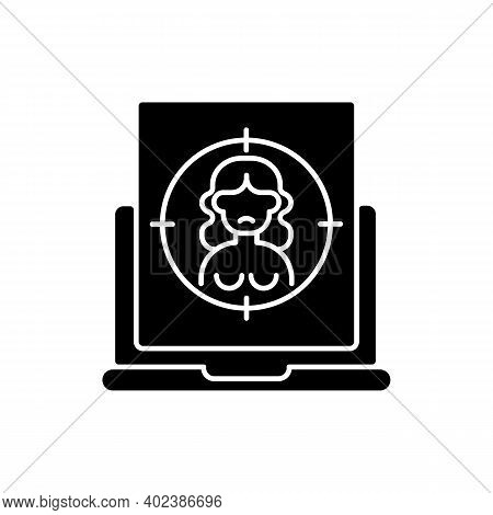 Online Sexual Harassment Black Glyph Icon. Victim Of Abuse. Social Media Harassment. Naked Picture,