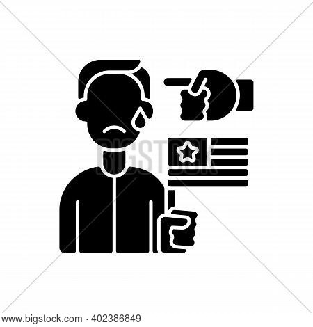 Political Cyberbullying Black Glyph Icon. Offensive Comment. Victim Of Discrimination. Shaming For P