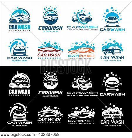 Set Of Car Wash Logo Design Vector Template, Car Wash Logo, Cleaning Car, Washing And Service Vector
