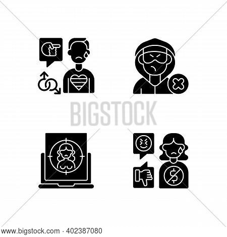 Cyber Bullying Black Glyph Icons Set On White Space. Block Or Mute Harasser. Ban Internet Troll. Onl