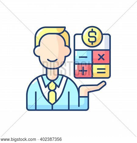 Bookkeeper Rgb Color Icon. Responsible Person For Recording And Maintaining All Business And Company