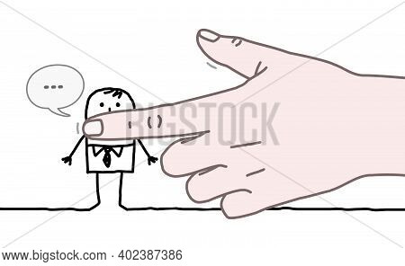 Hand Drawn Big Human Hand Shutting Mouth Of A Cartoon Man