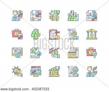 Accounting Rgb Color Icons Set. Business Controlling Methods. Accounting Software For Your Company.