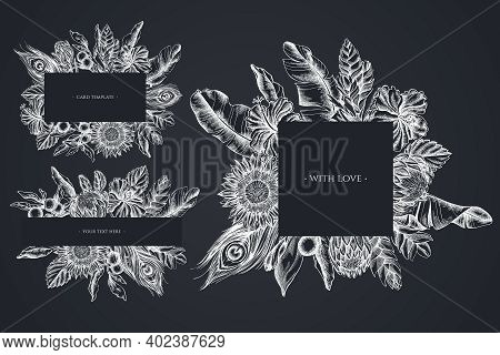 Floral Frames With Chalk Banana Palm Leaves, Hibiscus, Solanum, Bromeliad, Peacock Feathers, Protea