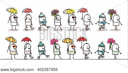 Hand Drawn Cartoon Man In Motion, Walking Threw The Four Seasons - Two Sets