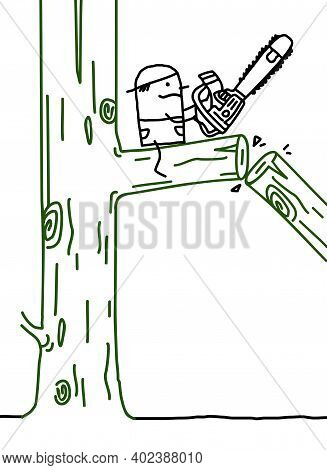 Hand Drawn Cartoon Woodcutter With Chain-saw On The Right Side Of The Branch