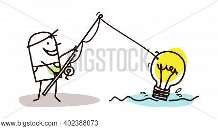 Hand Drawn Cartoon Man Fishing A Lightening Bulb