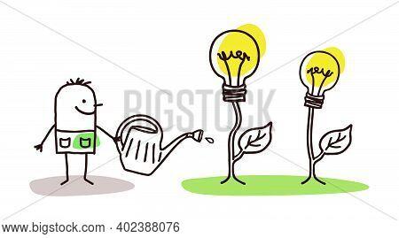 Hand Drawn Cartoon Man Watering Growing Lightening Bulbs