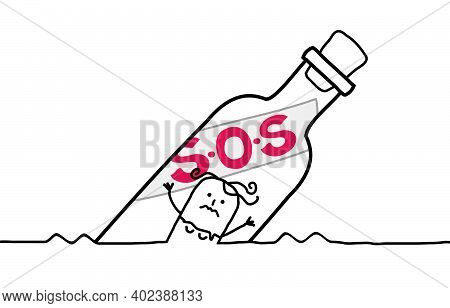Hand Drawn Cartoon Girl Who Needs Help, In A Floating S.o.s Bottle