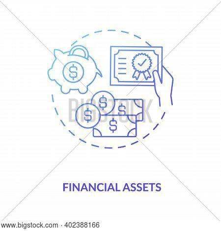 Financial Assets Concept Icon. Intangible Assets Type Idea Thin Line Illustration. Non-physical Asse