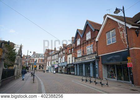 Views Along Bartholomew Street In Newbury, Berkshire In The Uk, Taken On The 19th November 2020