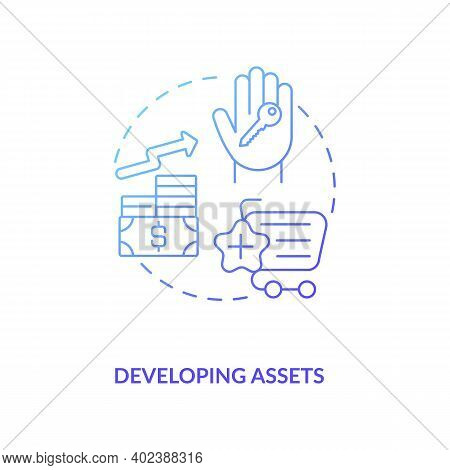 Developing Assets Concept Icon. Asset Management Component Idea Thin Line Illustration. Cost-effecti