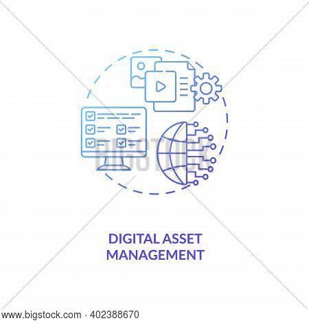Digital Asset Management Concept Icon. Asset Management Type Idea Thin Line Illustration. Images, Vi