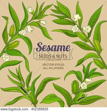 Sesame Plant Vector Frame On Color Background