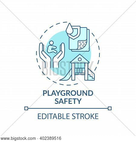 Playground Safety Turquoise Concept Icon. Secure Environment For Children To Play. Outdoors Area. Ch