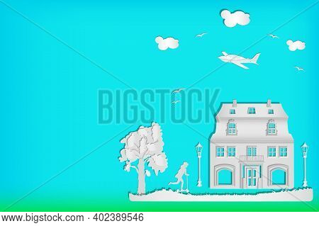 House, Tree, Girl With Scooter, Street Lamp, Small Airplane And Clouds On A Blue Sky Background. Urb