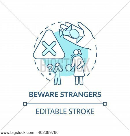 Beware Strangers Turquoise Concept Icon. Dangerous Unknown Person. Teach Kid Cautious Behavior. Chil