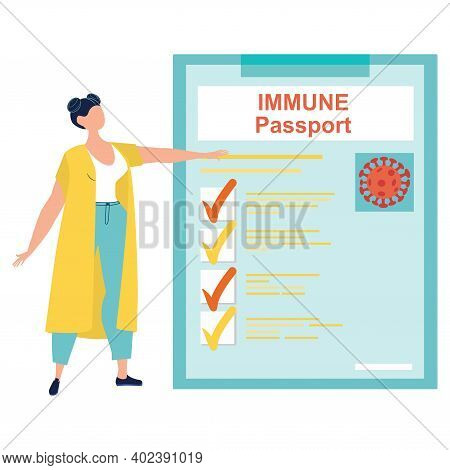 Woman Standing Near The Big Immunity Passport. Covid-19 Immunity Passport. Covid-19 Vaccine Passport