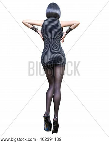 3d Beautiful Sexy Woman Black Super Mini Dress And Tights Pantyhose.woman Studio Photography.fashion