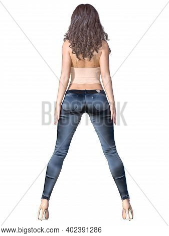 Girl With Long Hair In Stretch Jeans And Top.