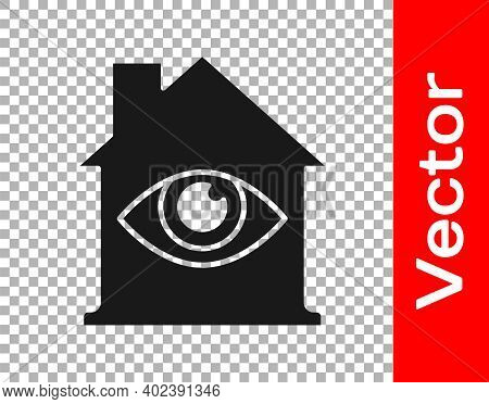 Black House With Eye Scan Icon Isolated On Transparent Background. Scanning Eye. Security Check Symb