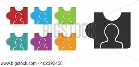 Black Head Hunting Icon Isolated On White Background. Business Target Or Employment Sign. Human Reso