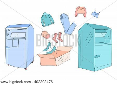 Clothes Donation With Special Container And Charity Box.swapping Shoes,crop Top,jeans,pullover,shirt