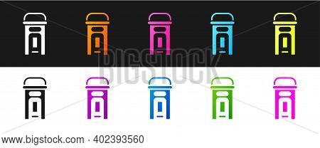 Set London Phone Booth Icon Isolated On Black And White Background. Classic English Booth Phone In L