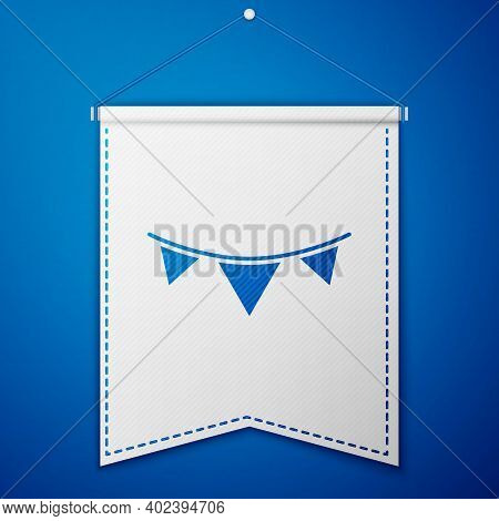 Blue Carnival Garland With Flags Icon Isolated On Blue Background. Party Pennants For Birthday Celeb