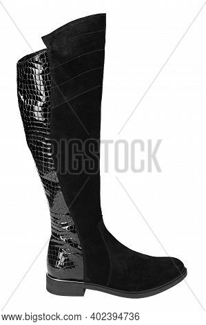 Black Suede Heel Boots Isolated On White Background. Close View Of Fashion Casual Female Shoes. Wome