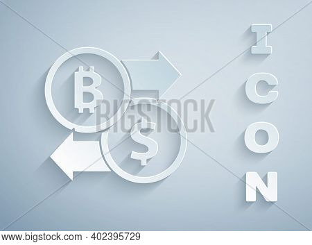 Paper Cut Cryptocurrency Exchange Icon Isolated On Grey Background. Bitcoin To Dollar Exchange Icon.