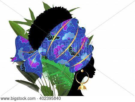 Portrait Beautiful African Woman In Traditional Turban Tribal Motif Wedding Flowers, Kente Head Wrap