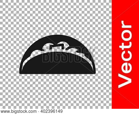 Black Taco With Tortilla Icon Isolated On Transparent Background. Traditional Mexican Fast Food Menu