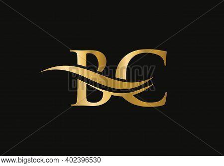 Initial Gold Letter Bc Logo Design. Bc Logo Design With Modern Trendy