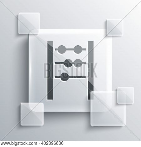 Grey Abacus Icon Isolated On Grey Background. Traditional Counting Frame. Education Sign. Mathematic
