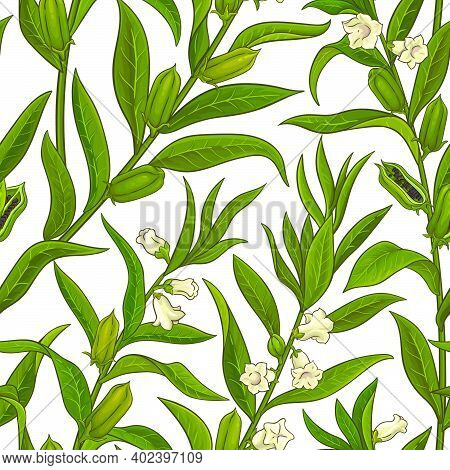 Sesame Plant Vector Pattern On White Background
