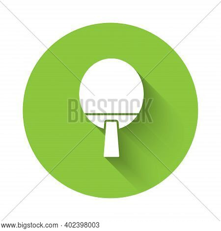 White Racket For Playing Table Tennis Icon Isolated With Long Shadow. Green Circle Button. Vector