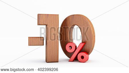 Discount 10 Percent Off. Wooden Minus Ten Percent ( -10% ) Isolated On White Background, 3d Render
