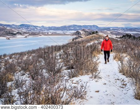 winter walk at Colorado foothills of Rocky Mountains along Horsetooth Reservoir