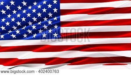 Waving Fabric Flag Of America, Silk Flag Of America Faso, United States Of America, 3d Render