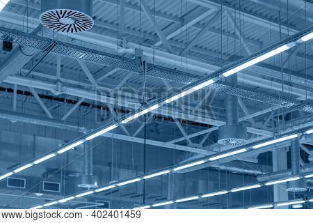 Supply And Exhaust Ventilation System With Lights On Ceiling Of Industrial Building, Exhibition Hall