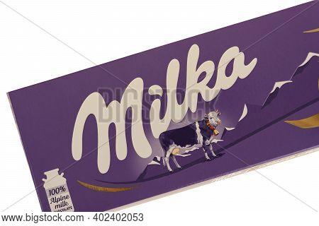 Burgas, Bulgaria - January 7, 2021: Milka Swiss Milk Chocolate Bar Isolated On White Background With