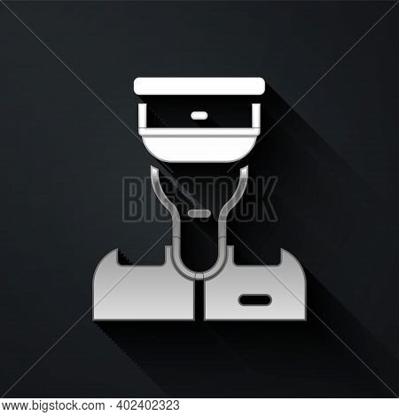 Silver Train Conductor Icon Isolated On Black Background. Long Shadow Style. Vector