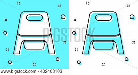 Black Line Baby Potty Icon Isolated On Green And White Background. Chamber Pot. Random Dynamic Shape