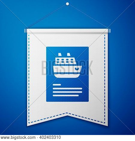 Blue Cruise Ship Icon Isolated On Blue Background. Travel Tourism Nautical Transport. Voyage Passeng