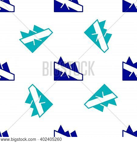 Blue Mountain Descent Icon Isolated Seamless Pattern On White Background. Symbol Of Victory Or Succe