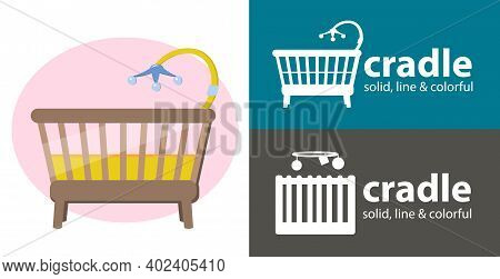 Baby Bed Icon. Baby Cradle Isolated Vector Icon. Cradle Line, Solid Flat Icon