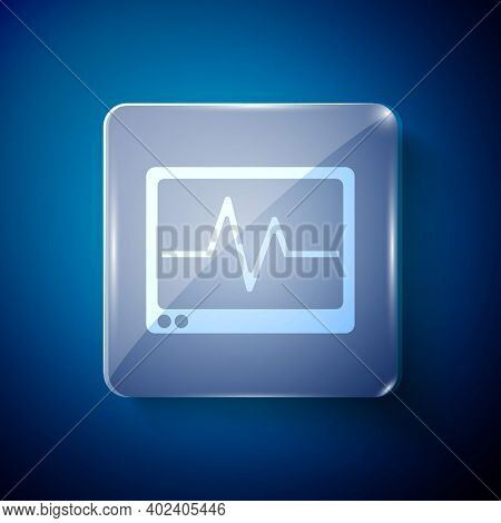 White Computer Monitor With Cardiogram Icon Isolated On Blue Background. Monitoring Icon. Ecg Monito